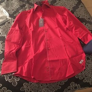 Other - Men's Curtis red slim shirt /contrast /high collar